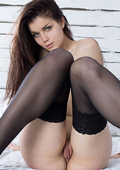 Sensual Girl In Black Stockings